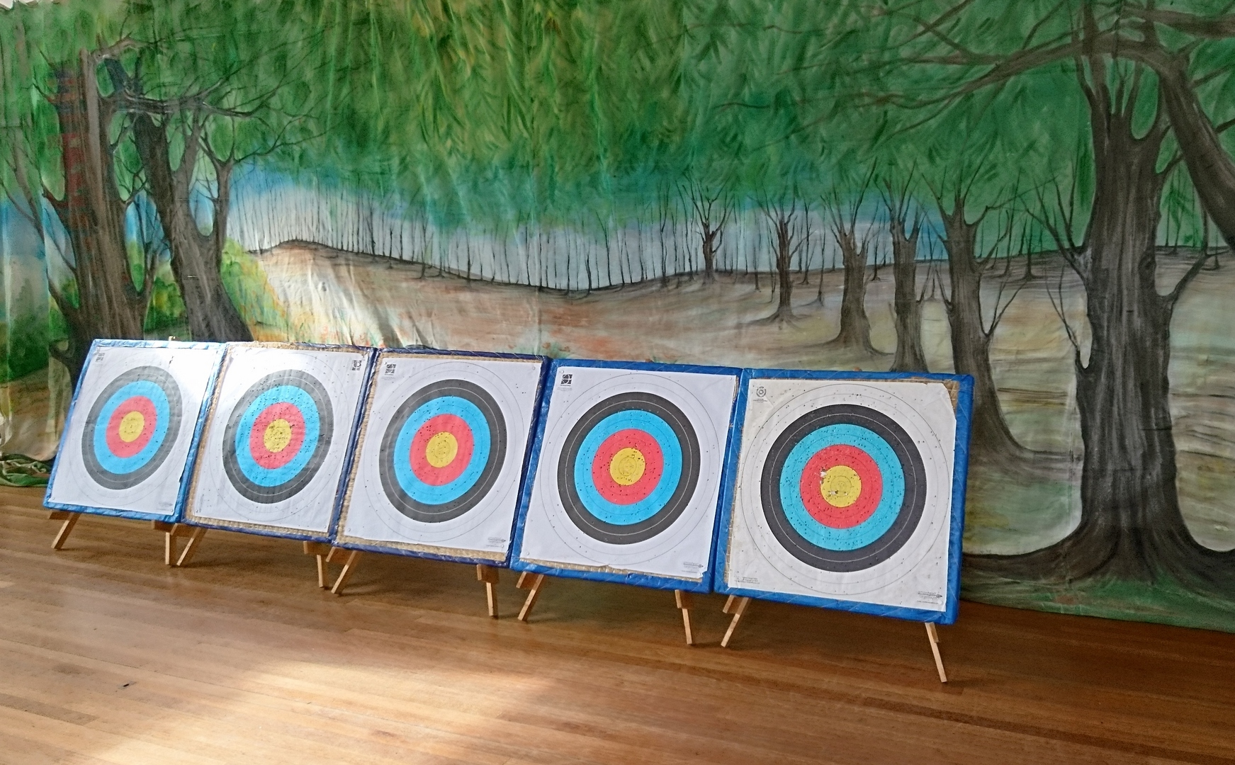 line of archery targets